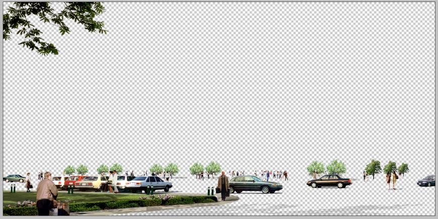 Commercial area parking detail elevation 3d model PSD file