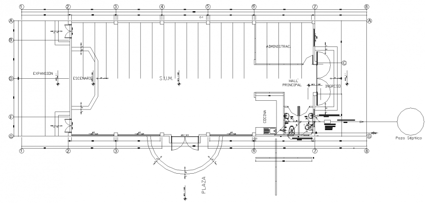 Commercial building, showroom plan in dwg file.