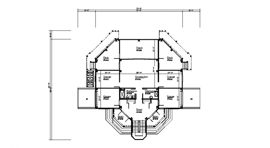 Commercial building 2d view detailing drawing in autocad format