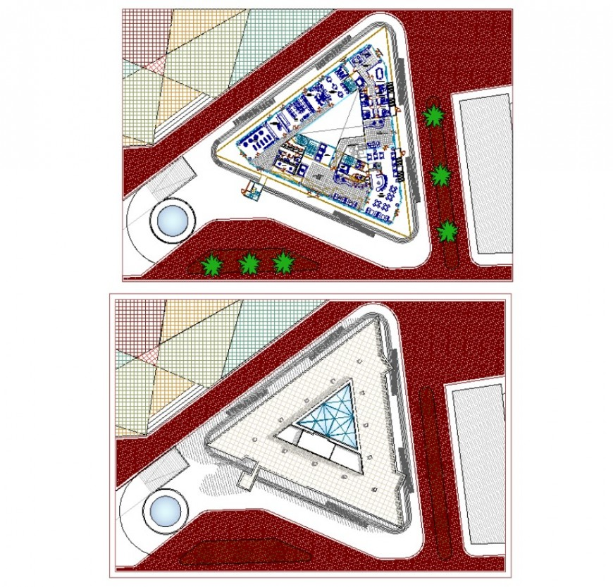 Commercial building and area detail 2d view layout plan