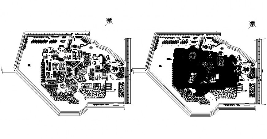 Commercial building area and landscaping details in autocad