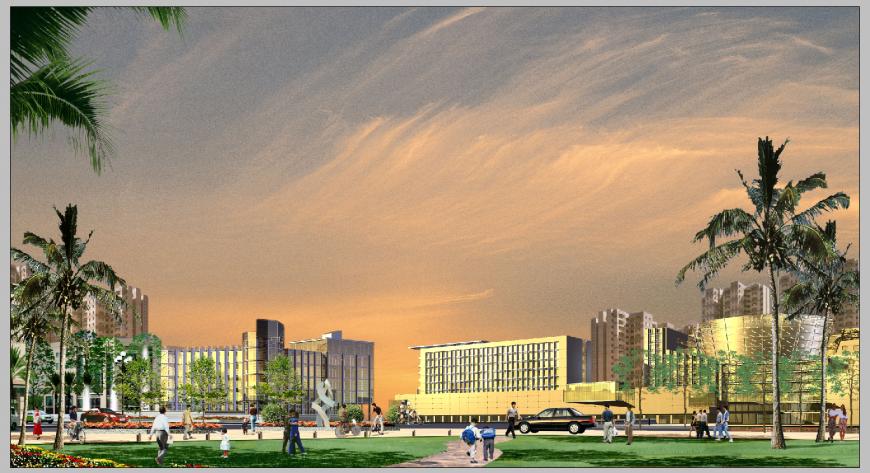 Commercial building area evening scenario detail 3d model PSD file