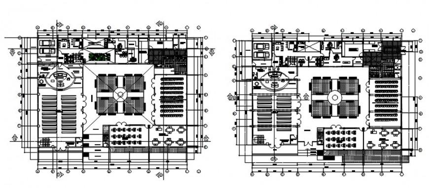 Commercial building complex top view plan details
