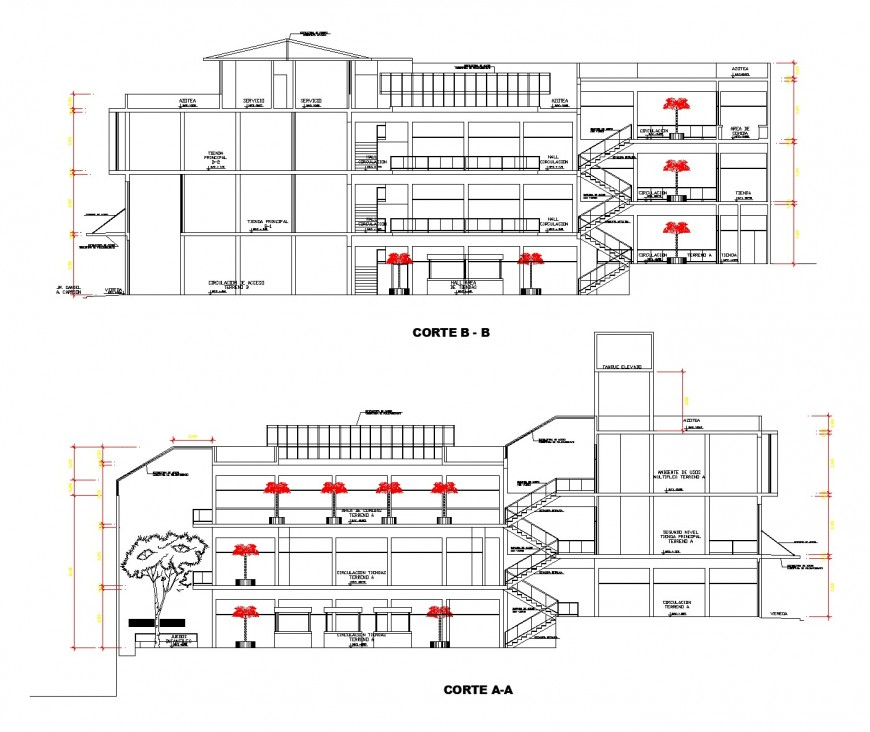 Commercial building detail elevation and plan layout file