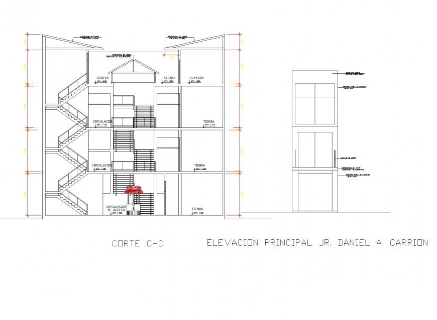 Commercial building detail elevation dwg file