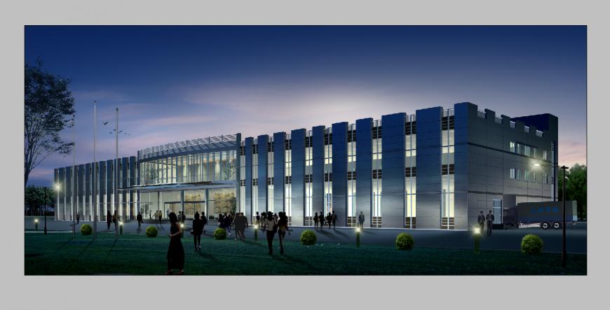 Commercial building detail night scenario elevation 3d model PSD file