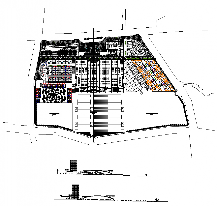Commercial building detail plan layout elevation AutoCAD file