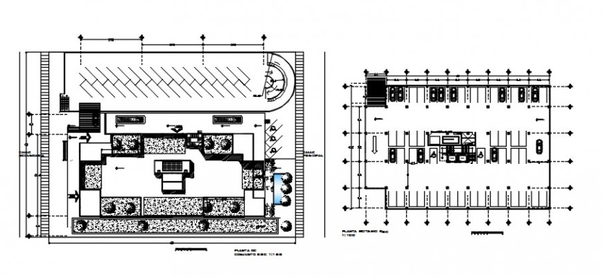 Commercial building distribution and basement floor plan drawing details dwg file