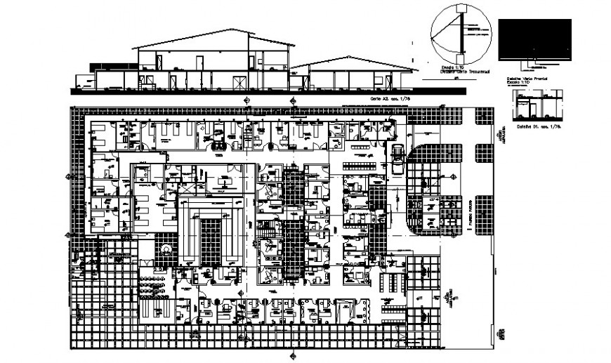 Commercial building drawings details plan and section dwg file