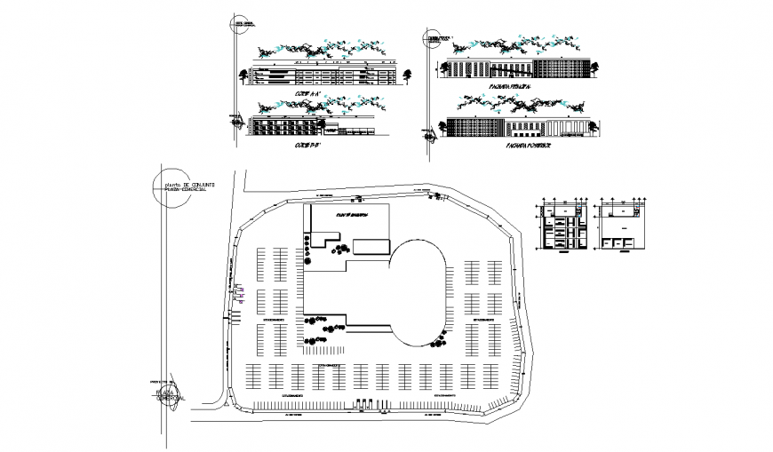 Commercial building elevation, section and distribution plan cad drawing details dwg file