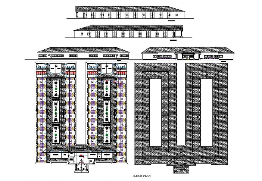 Commercial building floor plan detail elevation autocad file