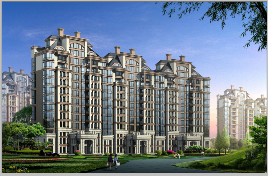 Commercial building hub detail 3d model elevation Photoshop file