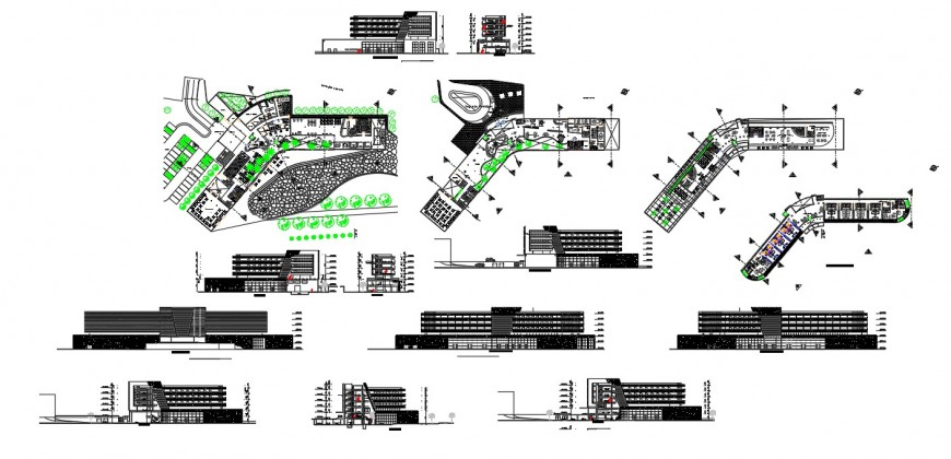 Commercial building hub detail plan, elevation and section 2d view layout autocad file