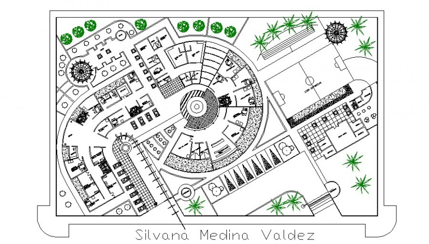 Commercial building hub detail plan 2d view layout autocad file