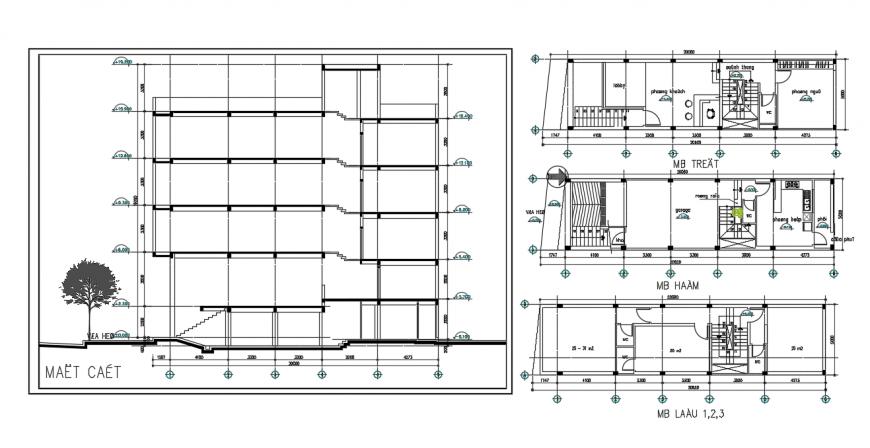 Commercial building plan & elevation detail