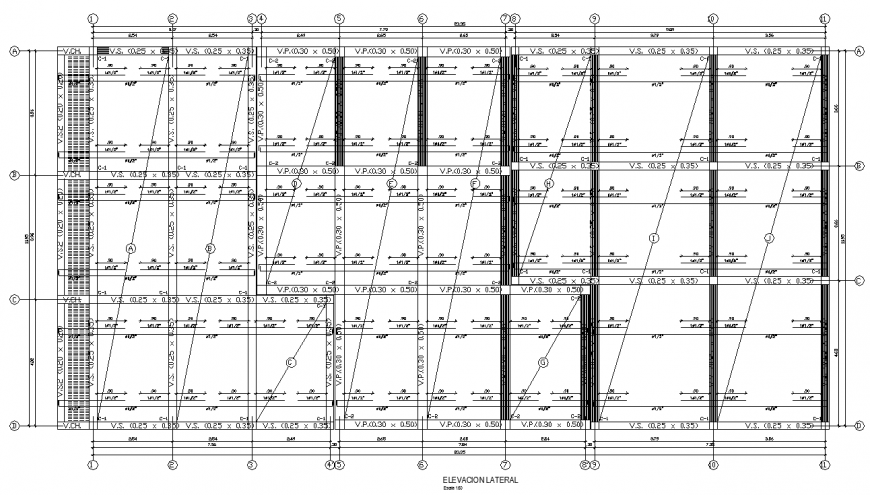 Commercial building plan with structure details in dwg file.