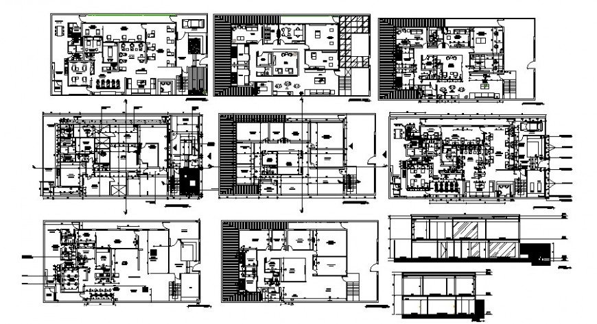Commercial building section and floor plan cad drawing details dwg file