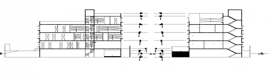 Commercial building section view detail in dwg file.