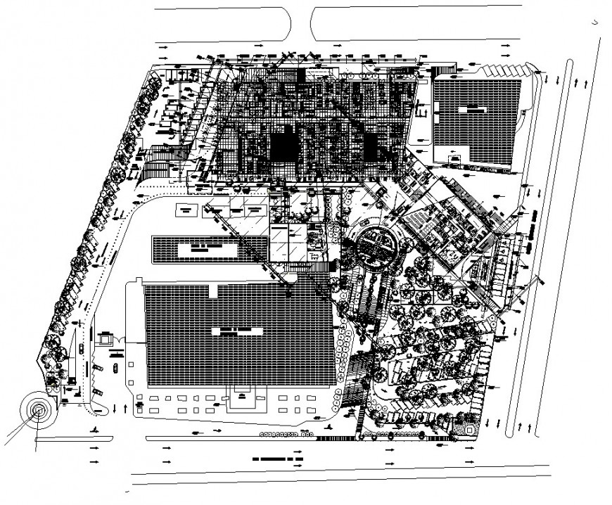 Commercial building structure and area detail 2d view CAD block layout autocad file
