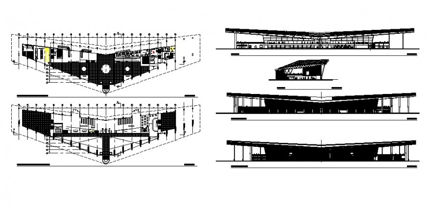 Commercial building units drawing plan and elevation autocad file