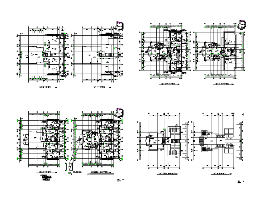 Commercial building working plan detail layout 2d view dwg file