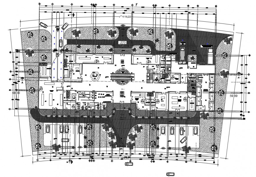 Commercial center building 2d view work plan dwg autocad software file
