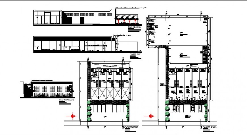 Commercial center elevation, section, floor plan and auto-cad details dwg file