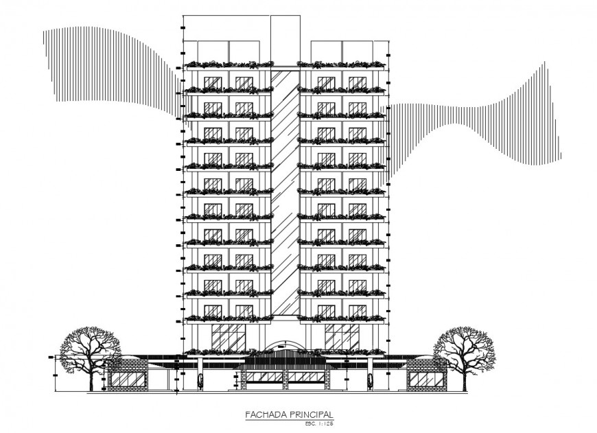 Commercial center main elevation in auto cad file