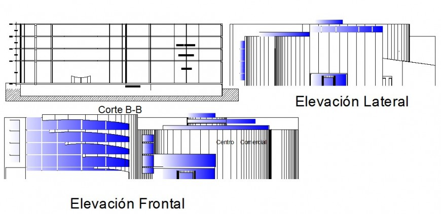 Commercial Centre elevation and section in autocade file