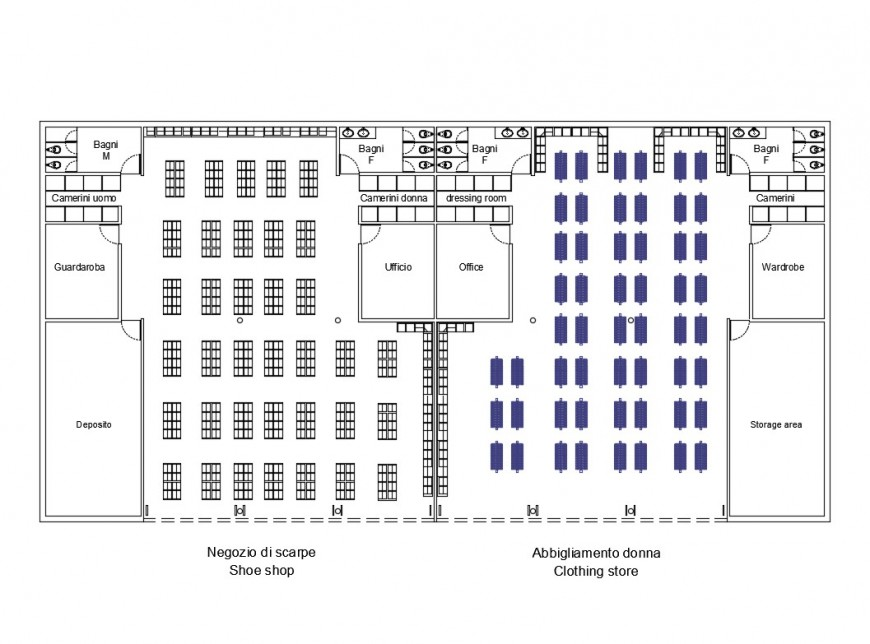 Commercial clothing spaces store distribution plan details dwg file