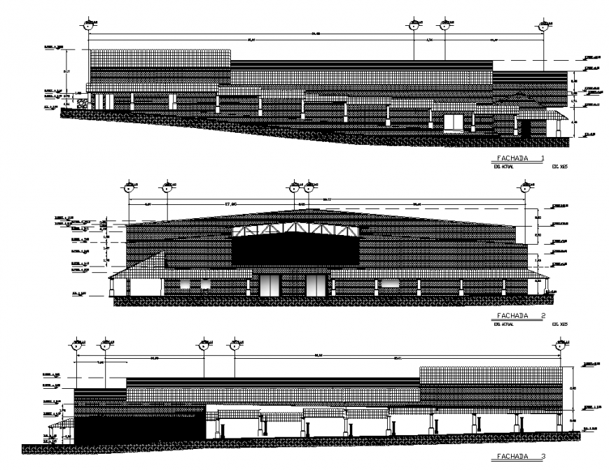 Commercial complex building detail elevation 2d view layout dwg file