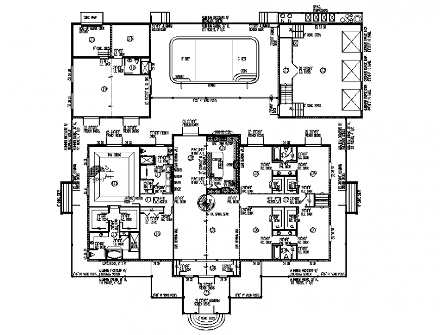 Commercial first floor plan detail layout file