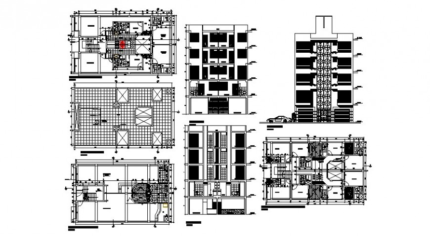 Commercial hotel building elevation, section and floor plan cad drawing details dw file