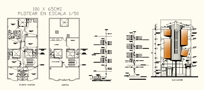 Commercial hotel project electrical layout of fourth and top floor in dwg AutoCAD file.