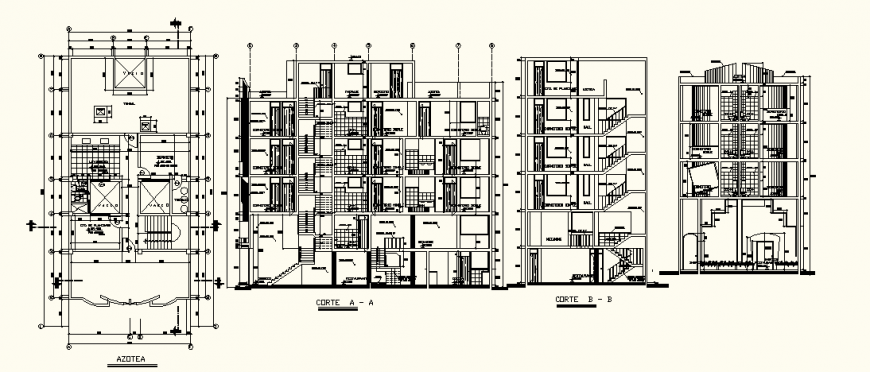 Commercial hotel project elevation detail layout in dwg AutoCAD file.