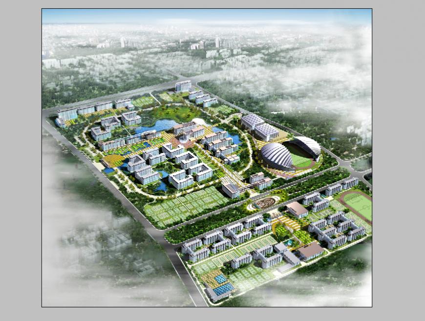 Commercial hub area detail 3d model elevation Photo shop file