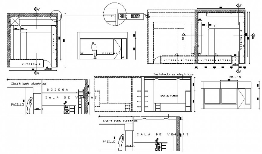 Commercial module details elevation and plan drawing autocad file
