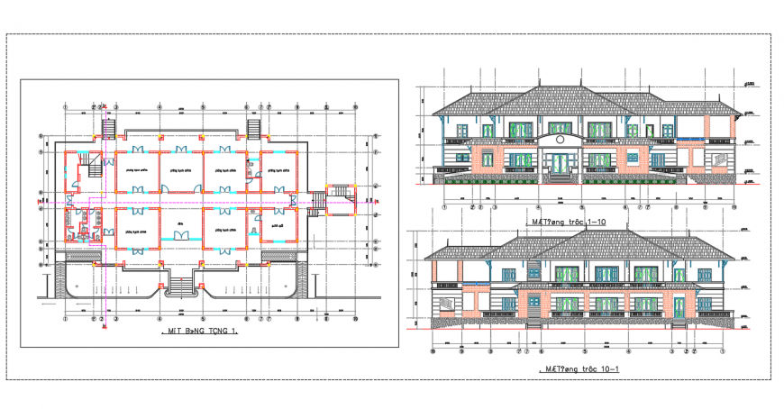 Commercial office Lay-out & section  elevation design