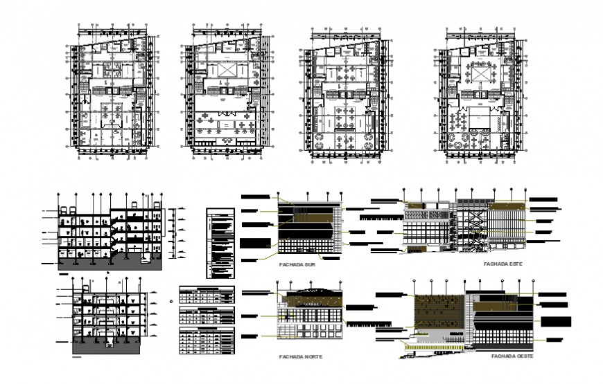 Commercial office plaza multi-level all sided elevation, section and floor plan details dwg file