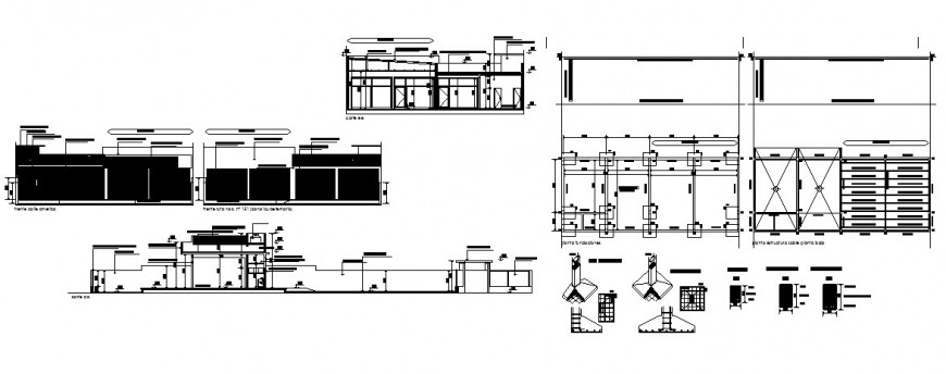 Commercial premises elevation, constructive section and auto-cad drawing details dwg file