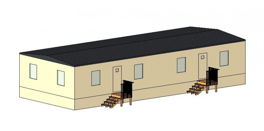 Commercial School building 3 d plan detail dwg file