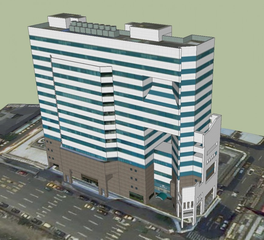 Commercial tower 3d in sketch up software