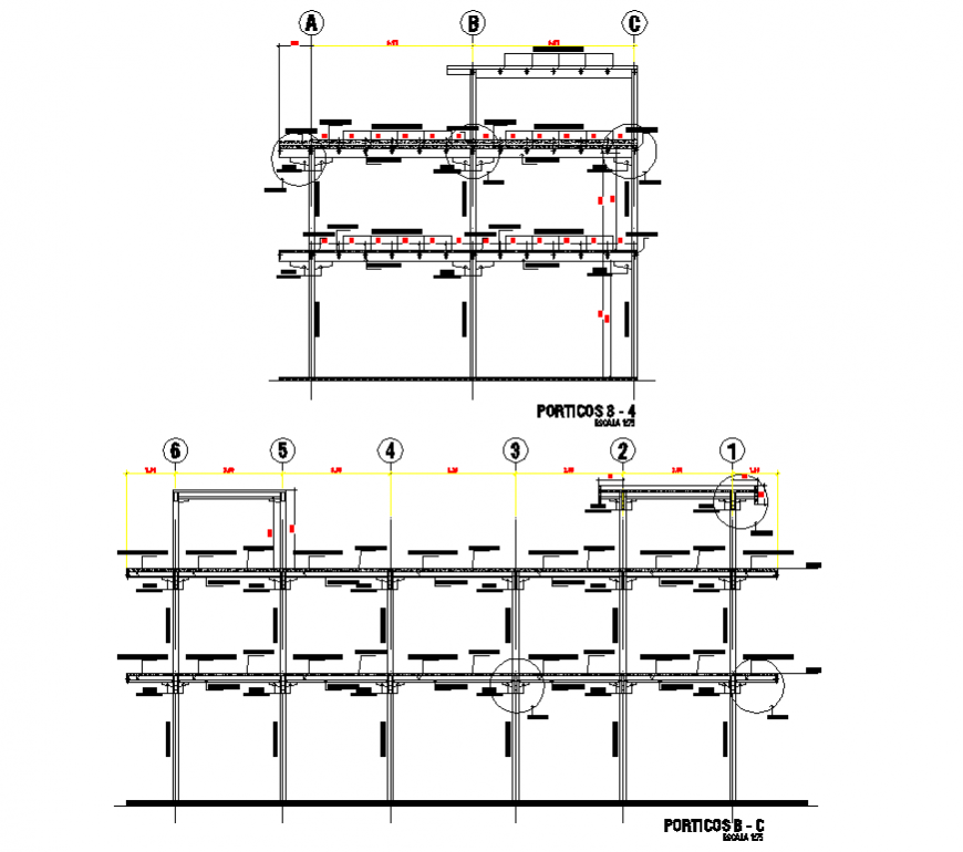 Commercial unit detail elevation and plan dwg file