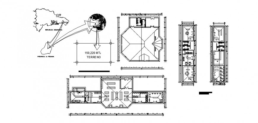 Commercial zone floors plan details for hotel building dwg file