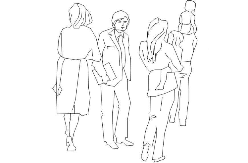 Common and family people 2d blocks drawing details dwg file