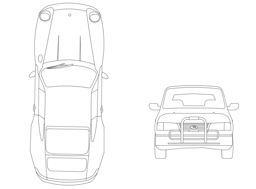Common car front and top view elevation 2d block details dwg file