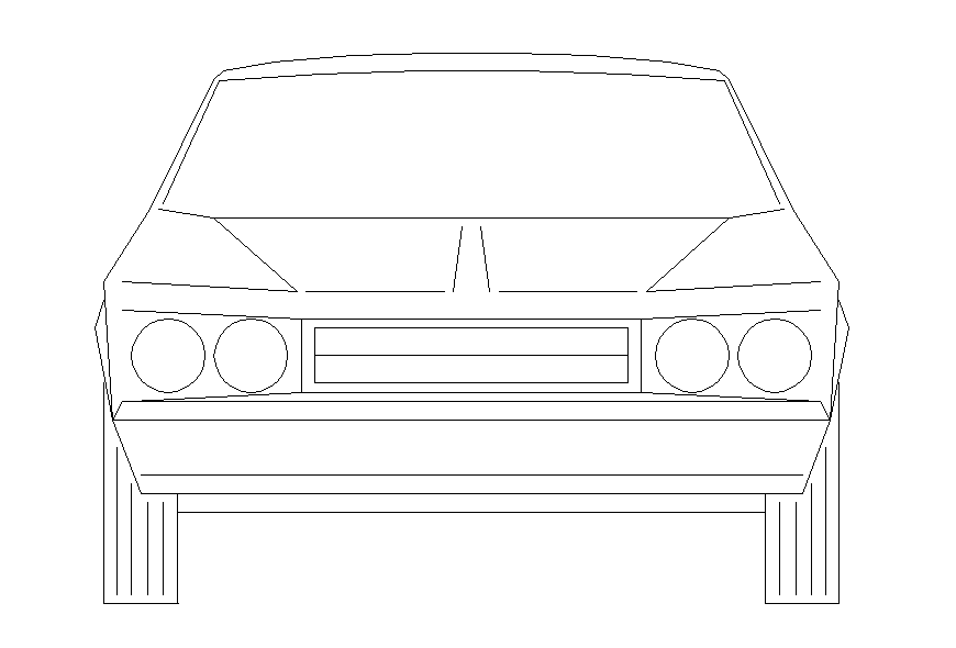 Common car front elevation block cad drawing details dwg file