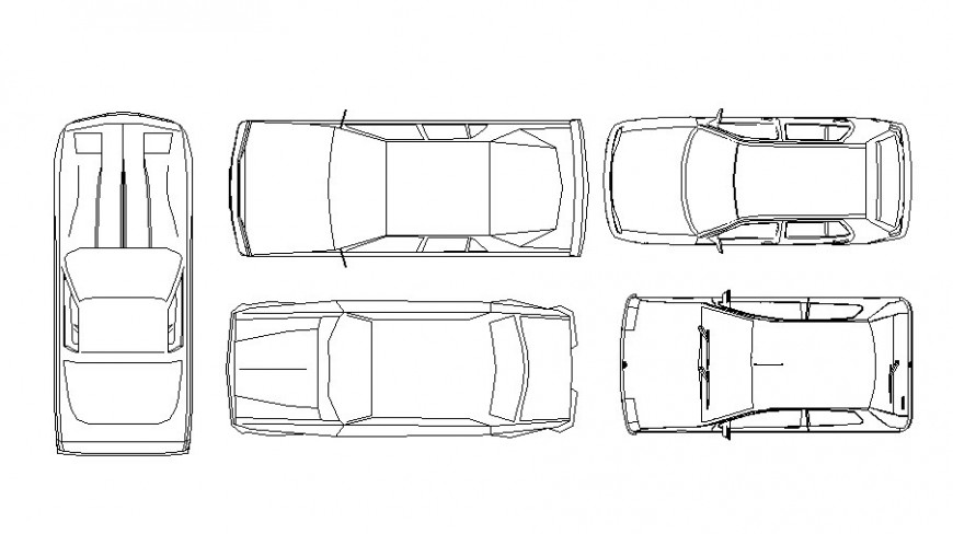 Common cars top view elevation blocks cad drawing details dwg file