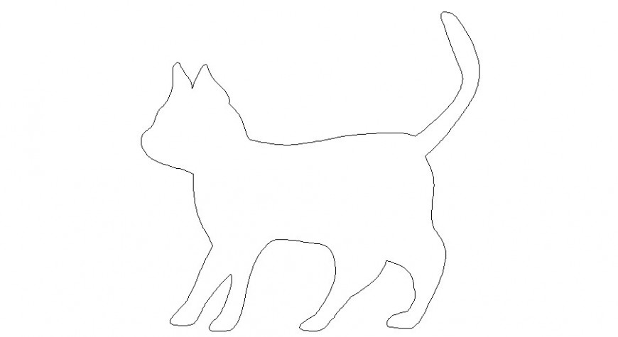 Common cat figure block cad drawing details dwg file