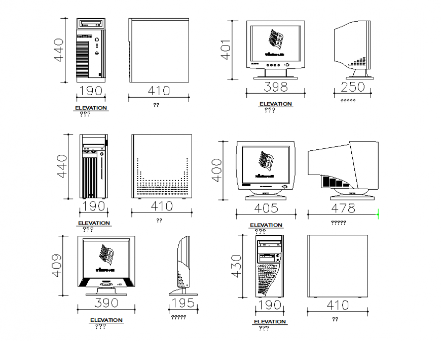 Common computer cad blocks with cpu cad drawing details dwg file